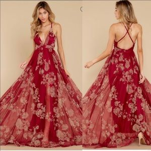 Red Dress Boutique Red Wine Floral Maxi